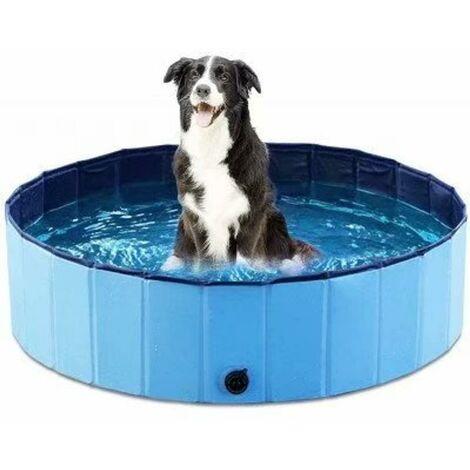 Gatos de la piscina del perro de la bañera del animal doméstico de la piscina plegable del PVC ecológico, 20X80cm - azul