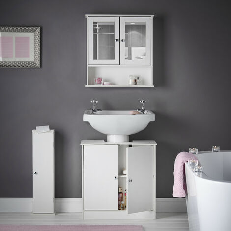 Gatsby - 3 Piece Set White Bathroom Wall Mounted Cabinet with Mirror, Under Sink Storage Floor Unit