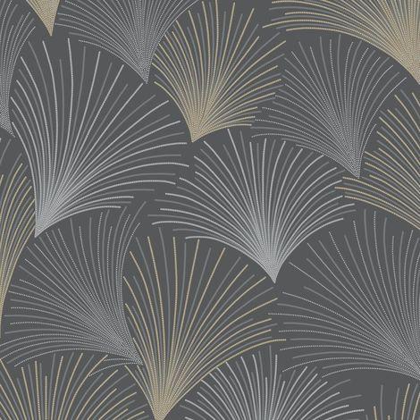 Gatsby Fan Black Wallpaper Silver Gold Glitter Grandeco