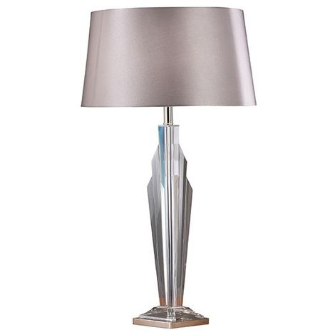 Gatsby Table Lamp Clear Crystal Lamp Base With Grey Shade 60W
