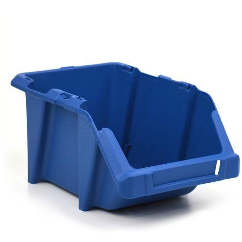 Gaveta de plástico apilable azul 15.3x24.4x12.3 cm