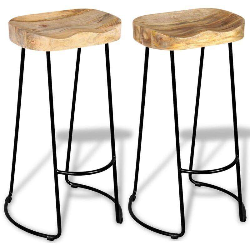 Pleasant Gavin Bar Stools 2 Pcs Solid Mango Wood Download Free Architecture Designs Rallybritishbridgeorg