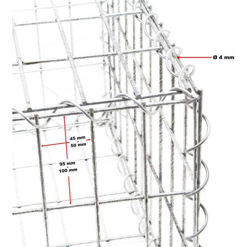 WilTec Gavi/ón 100x30x30 cm Muro Alambre Relleno Piedras Cierre Cercado Vallado Cesto Alambre Dique Jard/ín