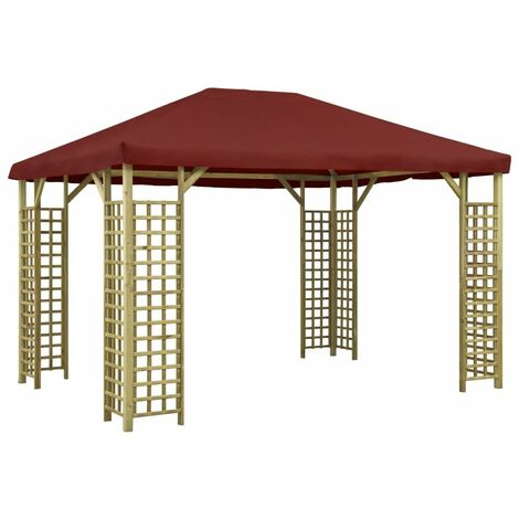 Gazebo 4x3 m Bordeaux - Red