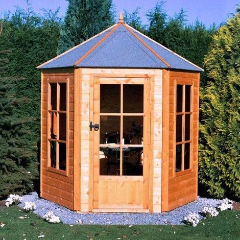Gazebo 6' x 6' Pressure Treated Double Door with Two Opening Windows Summerhouse