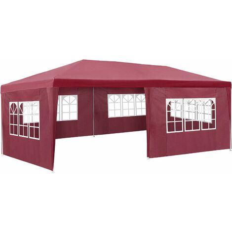 Gazebo 6x3m with 5 side panels - garden gazebo, gazebo with sides, camping gazebo - red