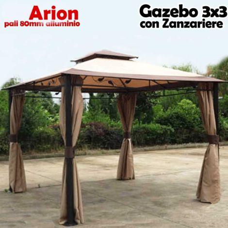 Gazebo Arion 3x3 mt Telo Copertura PVC Moka Zanzariere Laterali Pali Alluminio