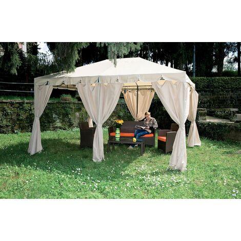 Foto Giardini Con Gazebo.Gazebo Bianco 3x4 In Acciaio Da Esterno Giardino Con Teli Tende Pareti Laterali