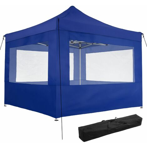 Gazebo collapsible 3x3 m with 4 Sides - Olivia - garden gazebo, gazebo with sides, camping gazebo - blue