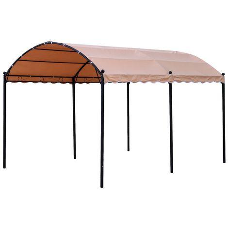 Gazebo desmontable marrón de acero clásico de 300x400 cm