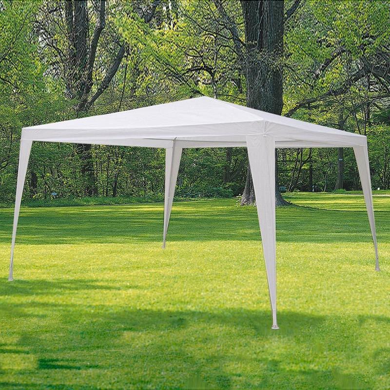 GAZEBO CM 300 X 300 MT 3 X 3 giardino fiera mercatino telo poliestere bianco