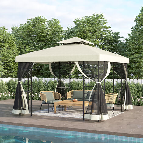 Gazebo Marquee Canopy Waterproof Garden Beach Patio Party Tent With Gauze