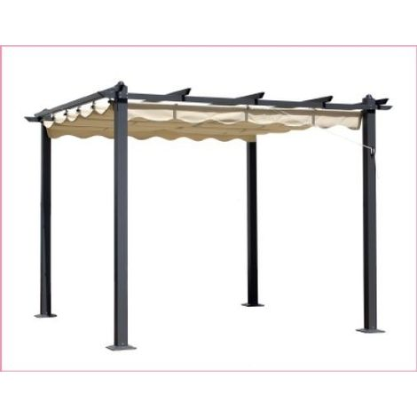 GAZEBO mod. oasi 3x3 mt. palo in alluminio 90x90 cm ombrellone