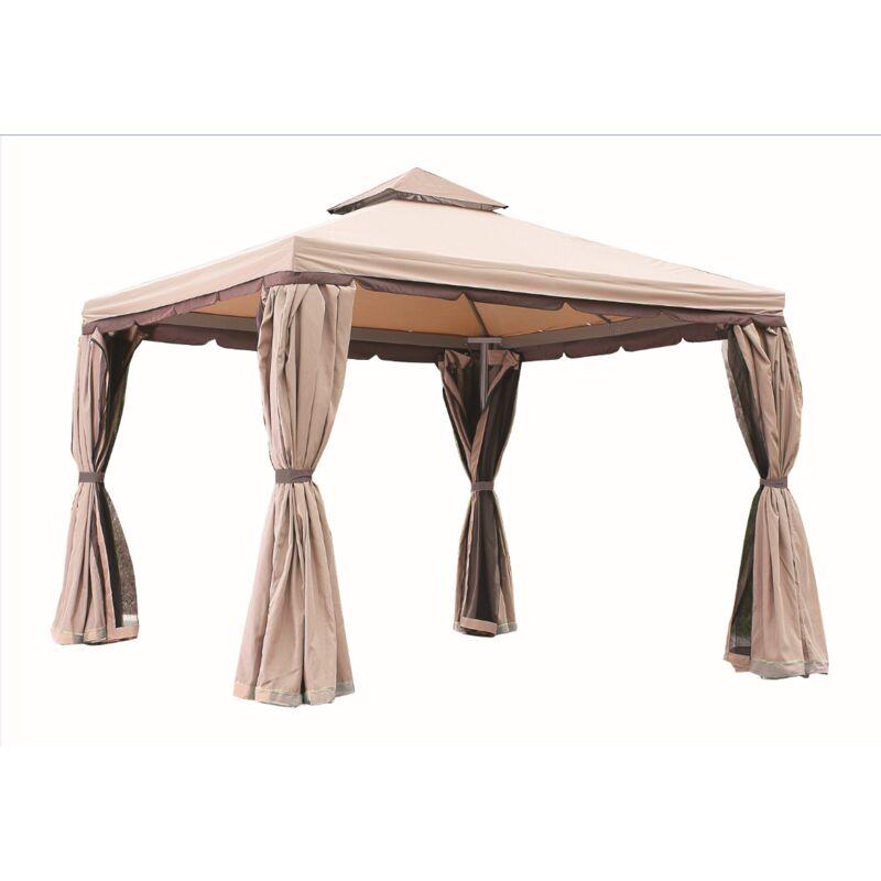 Gazebo ''PASSION'' per giardino in alluminio 3x3m ombrelloni impermeabile gazebi Ecrù - Ecru