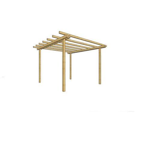 Gazebo pergola 200x200 legno pino massello impregnato - Losa Legnami