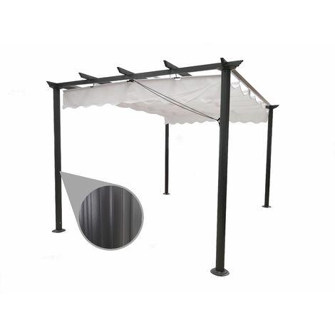 Gazebo Pergola da giardino 3X4 telo in poliestere 200 grammi e struttura in alluminio ANTRACITE