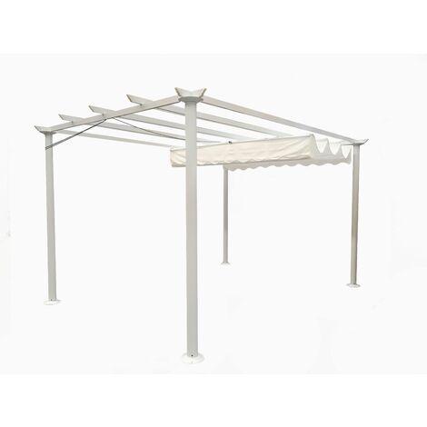 Gazebo Pergola da giardino 3X4 telo in poliestere 200 grammi e struttura in alluminio (bianco)