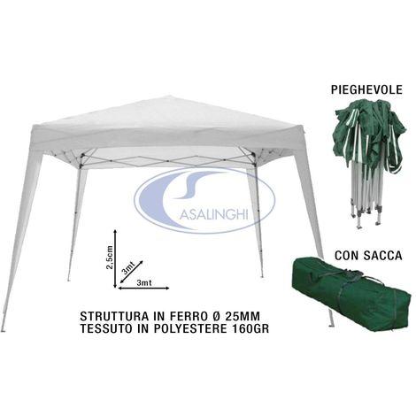 Sacca RICHIUDIBILE A Ombrello Fisarmonica Gazebo in Acciaio Bianco 3x2 MT 2,6h