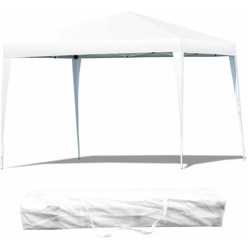 Gazebo Pieghevole da Giardino Padiglione da Esterno Tendone, Ideale per Festa Campeggio Evente, incl. Borsa da Trasporto, 3 X 3 m (Bianco)