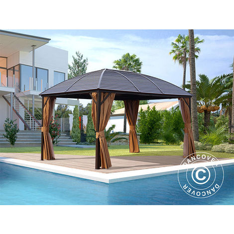Gazebo San Jose w/curtains and mosquito net, 3x4 m, Brown