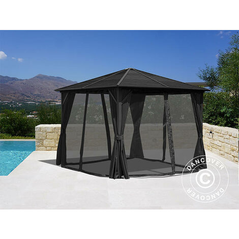 Gazebo San Luis w/curtains and mosquito net, 3x3 m, Black