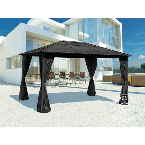 Gazebo San Luis w/curtains and mosquito net, 3x4 m, Black