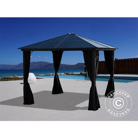 Gazebo Santa Barbara w/curtains and mosquito net, 3x3 m, Black