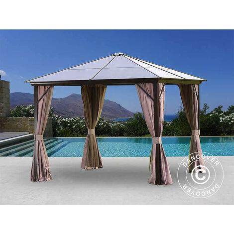 Gazebo Santa Barbara w/curtains and mosquito net, 3x3 m, Brown