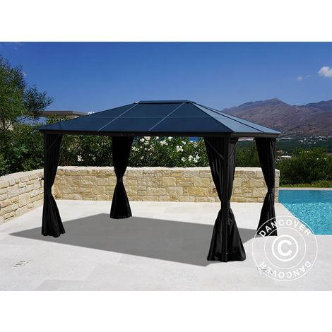 Gazebo Santa Barbara w/curtains and mosquito net, 3x4 m, Black