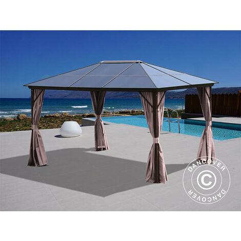 Gazebo Santa Barbara w/curtains and mosquito net, 3x4 m, Brown