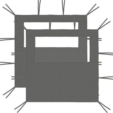 Gazebo Sidewalls with Windows 2 pcs 2x2.1 m Anthracite 70 g/m²