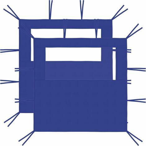 Gazebo Sidewalls with Windows 2 pcs 2x2.1 m Blue 70 g/m²