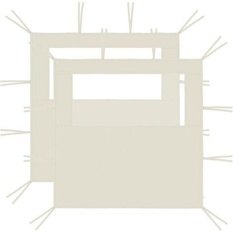 Gazebo Sidewalls with Windows 2 pcs 2x2.1 m Cream 70 g/m²
