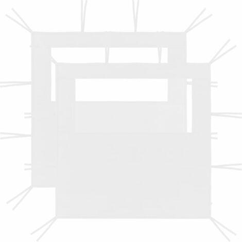 Gazebo Sidewalls with Windows 2 pcs 2x2.1 m White 70 g/m²