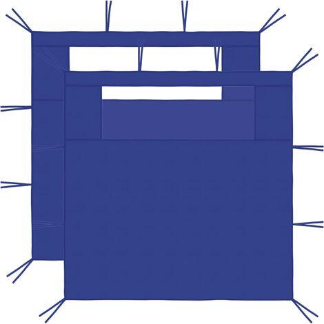 Gazebo Sidewalls with Windows 2 pcs 3x2.1 m Blue 70 g/m²