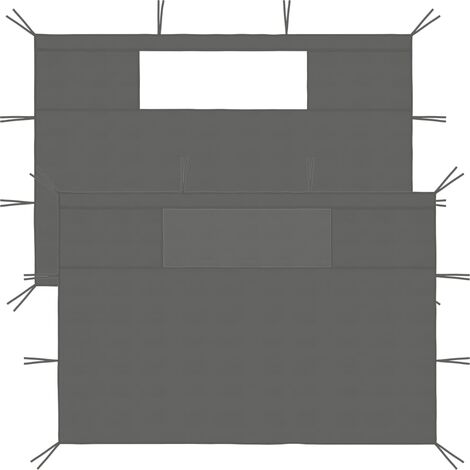 Gazebo Sidewalls with Windows 2 pcs 4x2.1 m Anthracite 70 g/m²