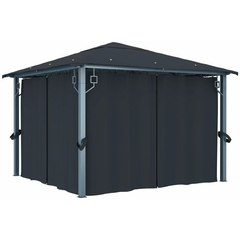Gazebo with Curtain 300x300 cm Anthracite Aluminium