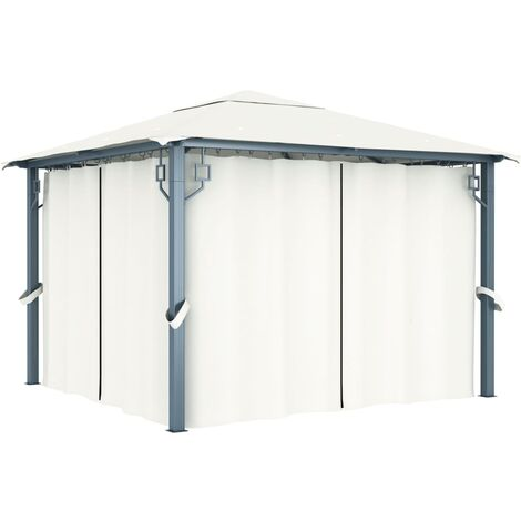 Gazebo with Curtain 300x300 cm Cream Aluminium