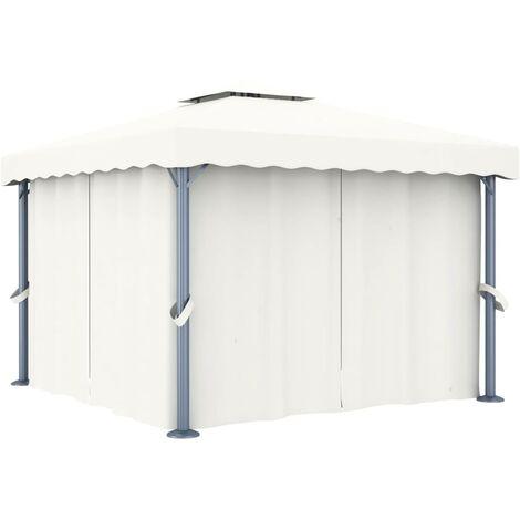 Gazebo with Curtain 3x3 m Cream White Aluminium