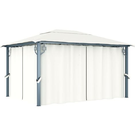 Gazebo with Curtain 400 x 300 cm Cream Aluminium