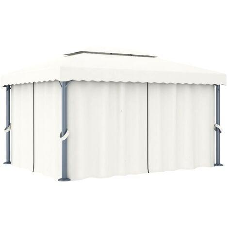 Gazebo with Curtain 4x3 m Cream White Aluminium - Cream