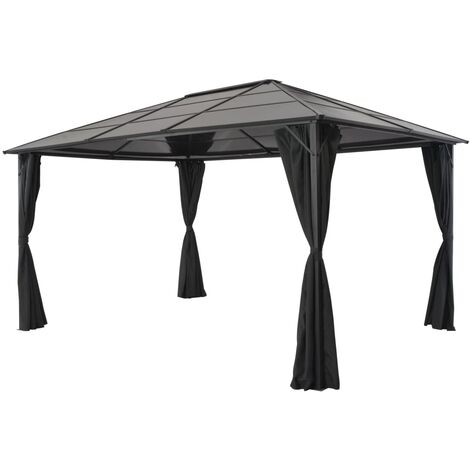 Gazebo with Curtain Aluminium 4x3x2.6 m Black
