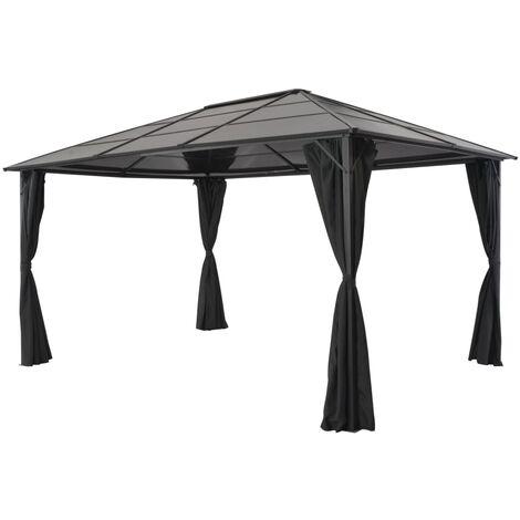 Gazebo with Curtain Aluminium 4x3x2.6 m Black - Black