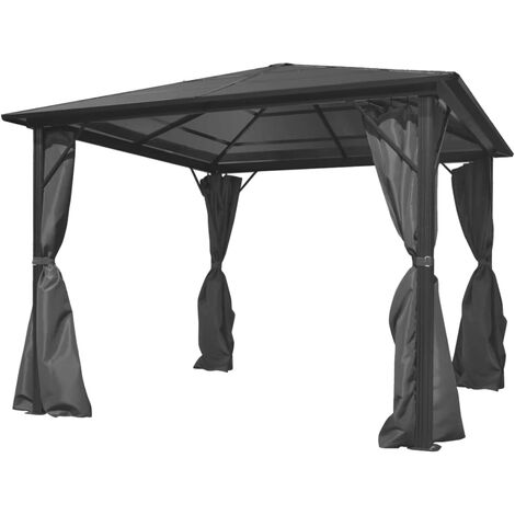 Gazebo with Curtain Anthracite Aluminium 300x300 cm