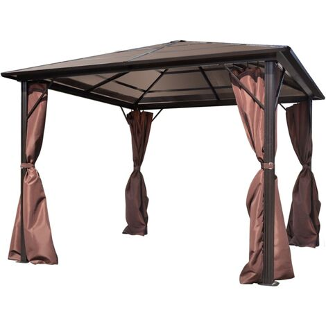 Gazebo with Curtain Brown Aluminium 300 x 300 cm