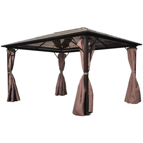 Gazebo with Curtain Brown Aluminium 400 x 300 cm