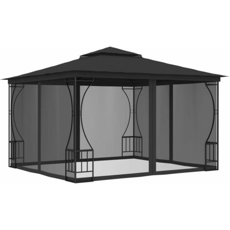 Gazebo with Curtains 300x300x265 cm Anthracite