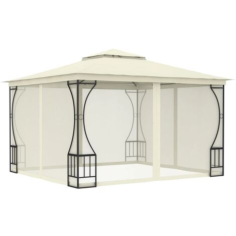 Gazebo with Curtains 300x300x265 cm Cream