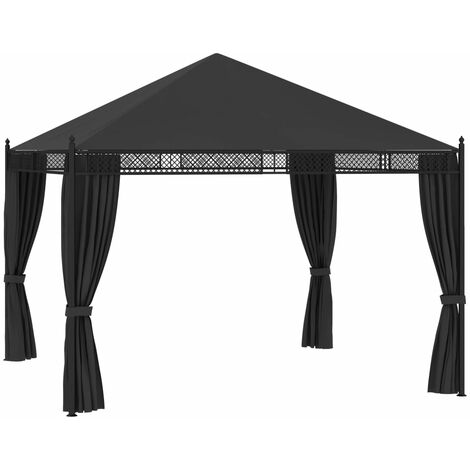 Gazebo with Curtains 3.5x3.5x3.1 m Anthracite