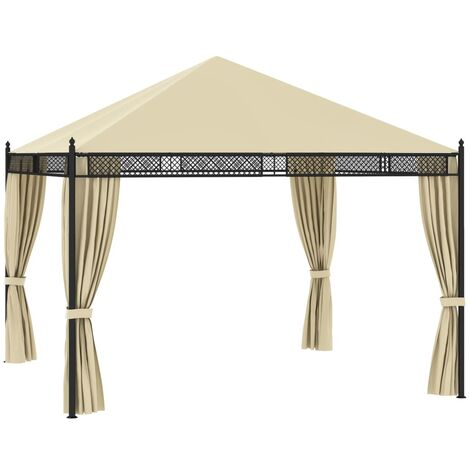 Gazebo with Curtains 3.5x3.5x3.1 m Cream Poly Rattan 140g/m²